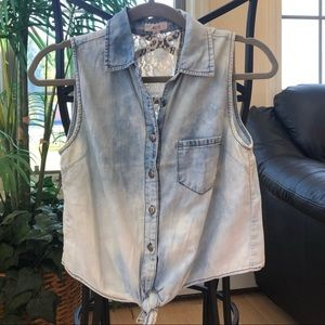 mine Tops - Mine Acid Washed Chambray Button Up